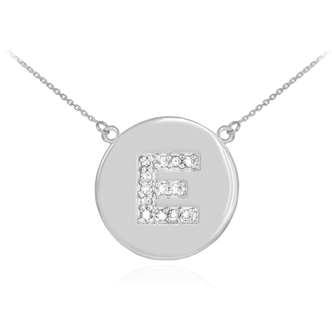 "14k White Gold Letter ""E"" Initial Diamond Disc Necklace"