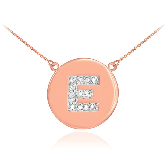 "14k Rose Gold Letter ""E"" Initial Diamond Disc Necklace"