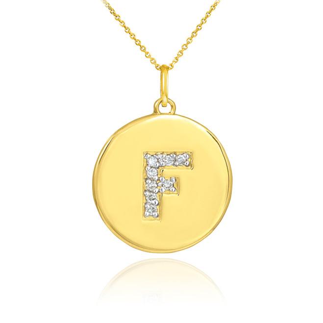 "Gold Letter ""F"" Initial Diamond Disc Pendant Necklace"