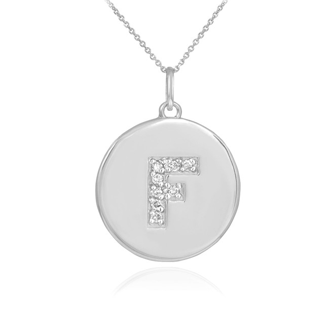 """White Gold Letter """"F"""" Initial Diamond Disc Pendant Necklace"""