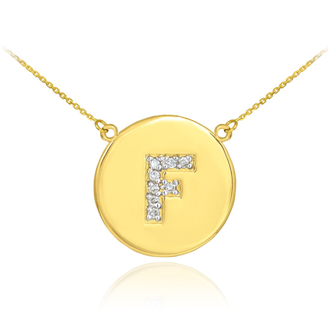 """14k Gold Letter """"F"""" Initial Diamond Disc Necklace"""