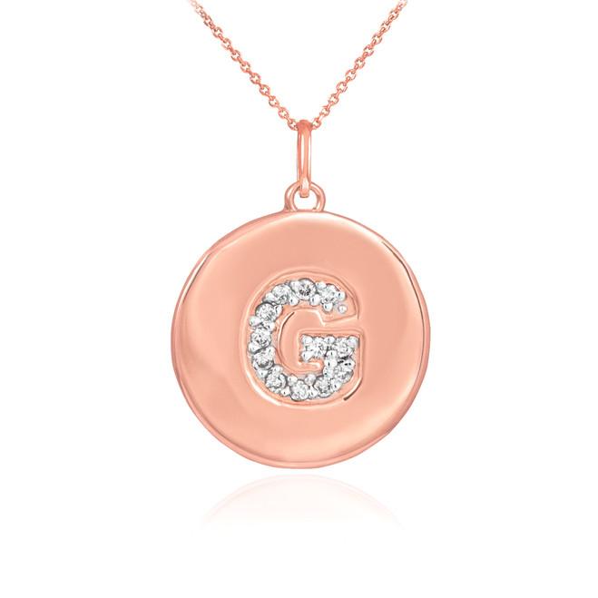 "14k Rose Gold Letter ""G"" Initial Diamond Disc Pendant Necklace"