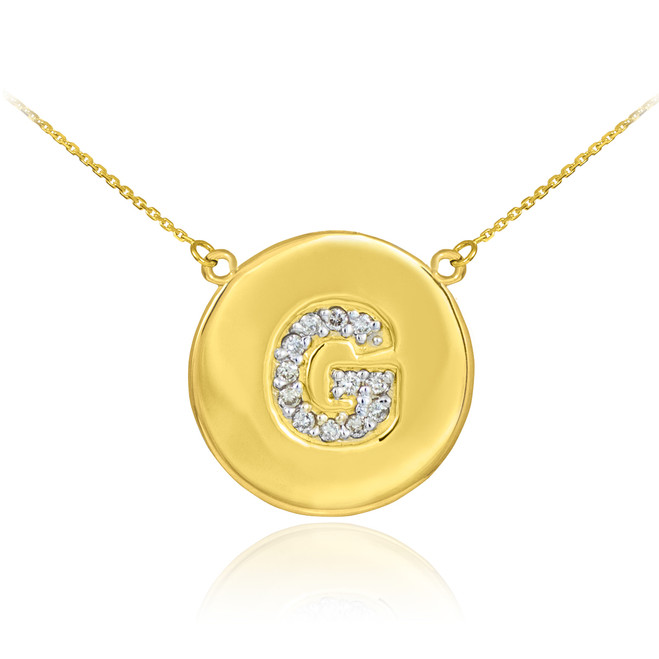 """14k Gold Letter """"G"""" Initial Diamond Disc Necklace"""