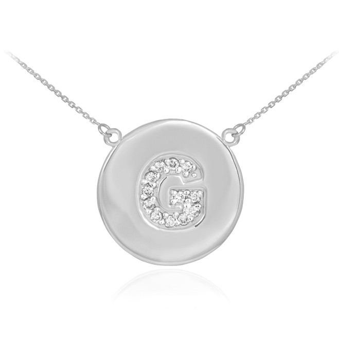 """14k White Gold Letter """"G"""" Initial Diamond Disc Necklace"""