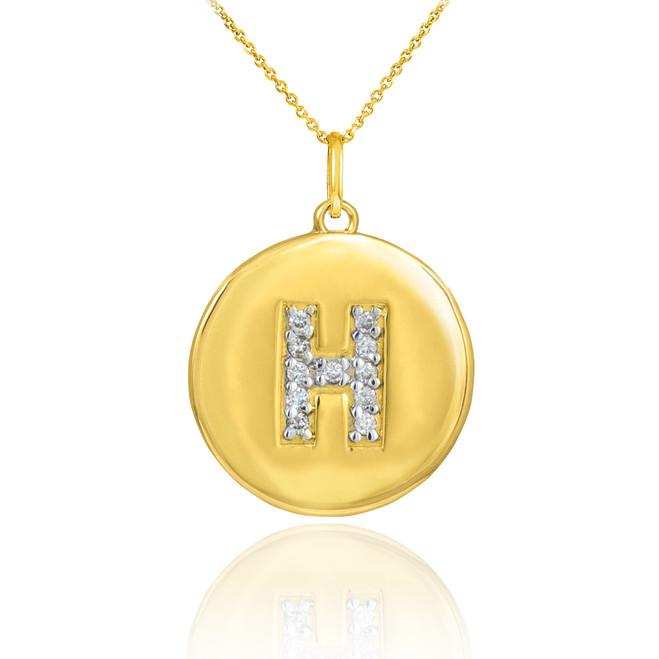 "Gold Letter ""H"" Initial Diamond Disc Pendant Necklace"