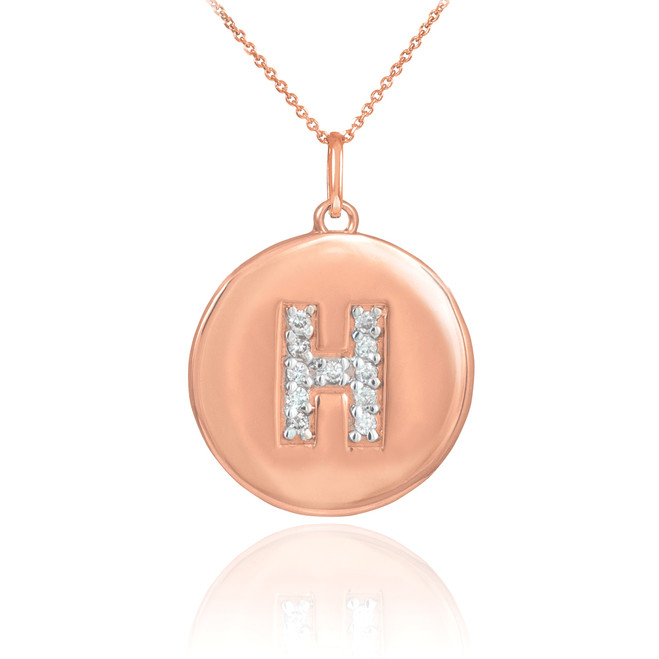 "14k Rose Gold Letter ""H"" Initial Diamond Disc Pendant Necklace"