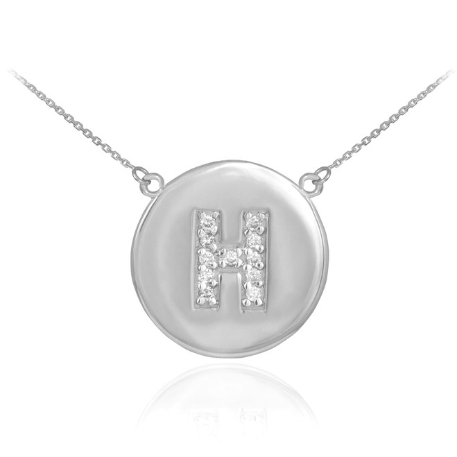 "14k White Gold Letter ""H"" Initial Diamond Disc Necklace"