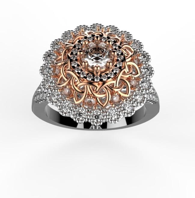 14k White and Rose Gold Celtic Diamond Engagement Ring