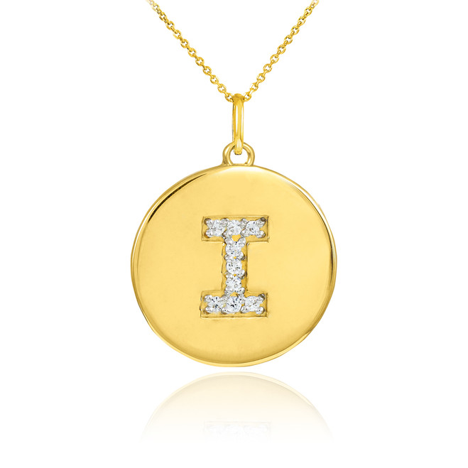 "Gold Letter ""I"" Initial Diamond Disc Pendant Necklace"