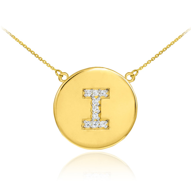 "14k Gold Letter ""I"" Initial Diamond Disc Necklace"