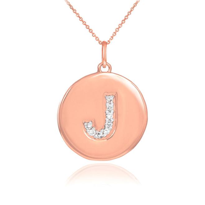 "14k Rose Gold Letter ""J"" Initial Diamond Disc Pendant Necklace"