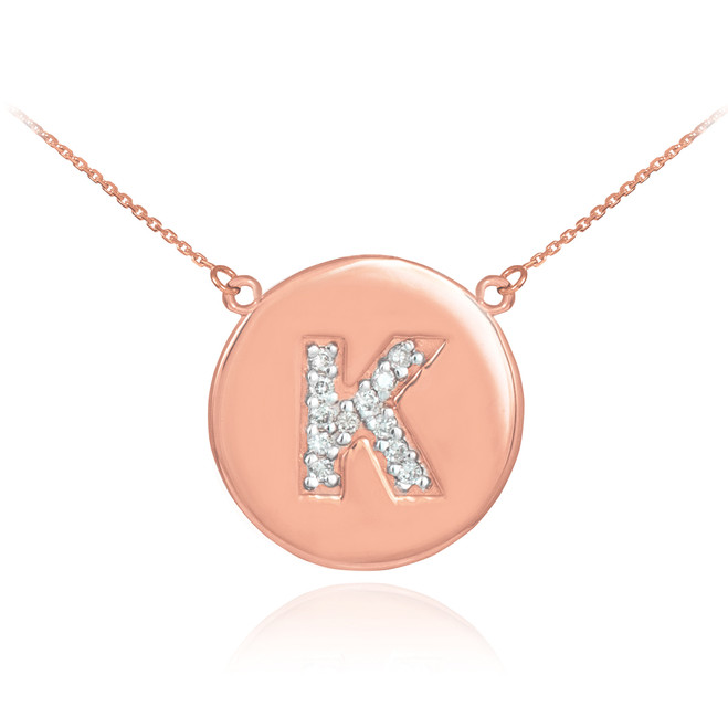 "14k Rose Gold Letter ""K"" Initial Diamond Disc Necklace"