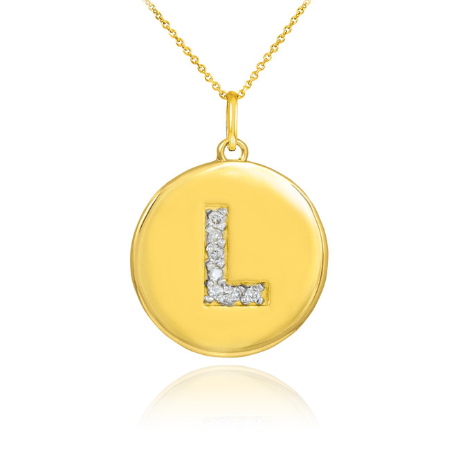 "Letter ""L"" disc pendant necklace with diamonds in 10k or 14k yellow gold."