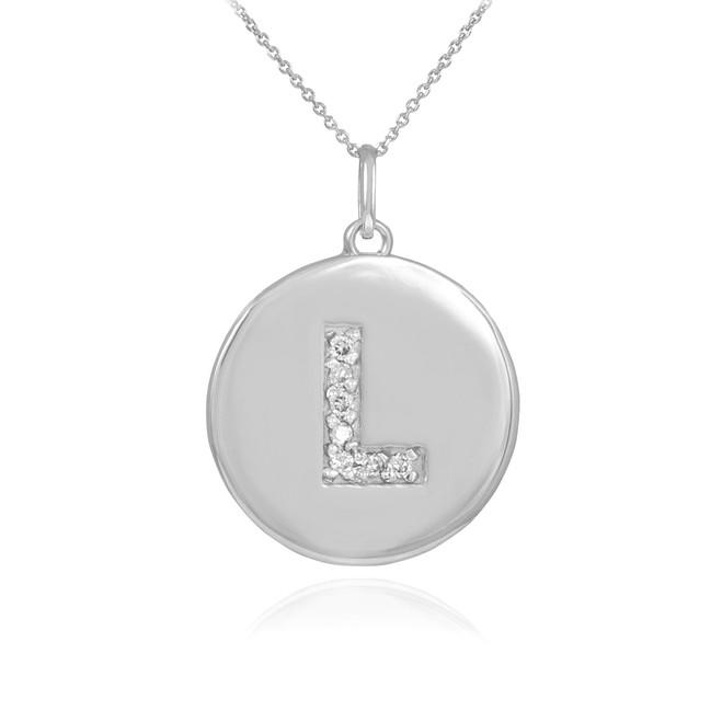 "White Gold Letter ""L"" Initial Diamond Disc Pendant Necklace"
