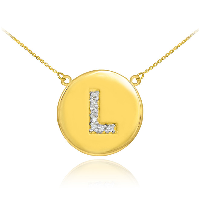 "14k Gold Letter ""L"" Initial Diamond Disc Necklace"