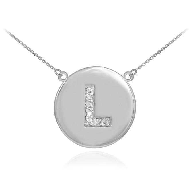 "14k White Gold Letter ""L"" Initial Diamond Disc Necklace"