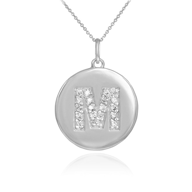 "White Gold Letter ""M"" Initial Diamond Disc Pendant Necklace"