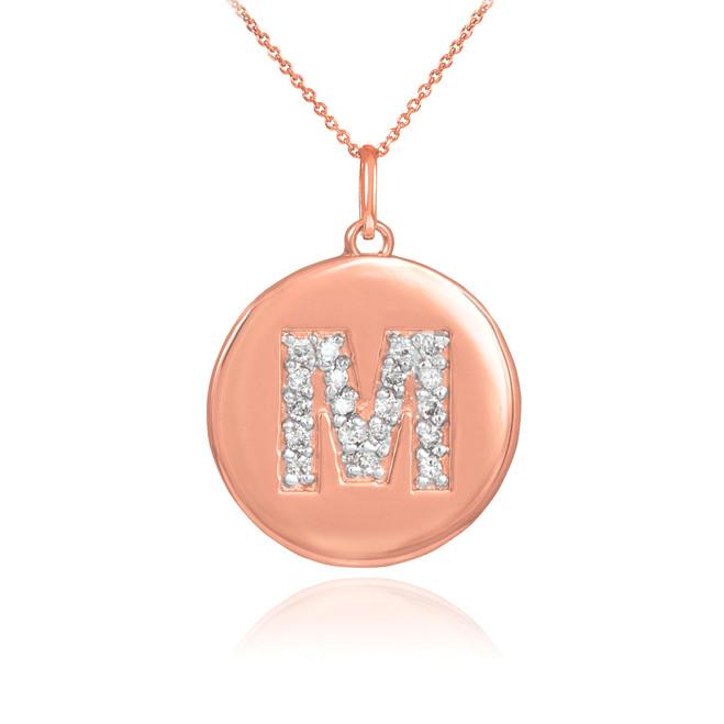"14k Rose Gold Letter ""M"" Initial Diamond Disc Pendant Necklace"