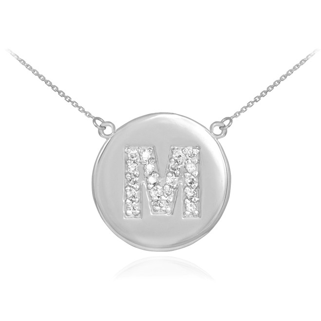 "14k White Gold Letter ""M"" Initial Diamond Disc Necklace"