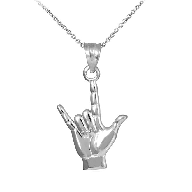 "925 Sterling Silver ""Hang Loose"" Charm Pendant Necklace"