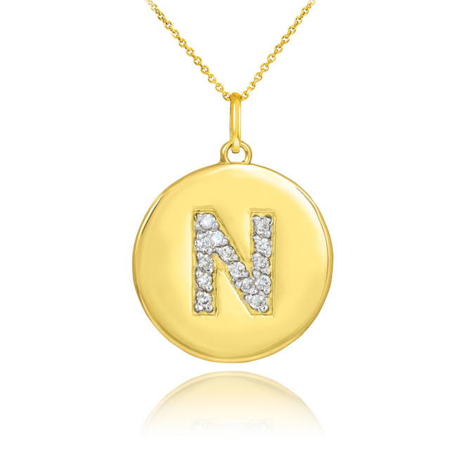 "Gold Letter ""N"" Initial Diamond Disc Pendant Necklace"