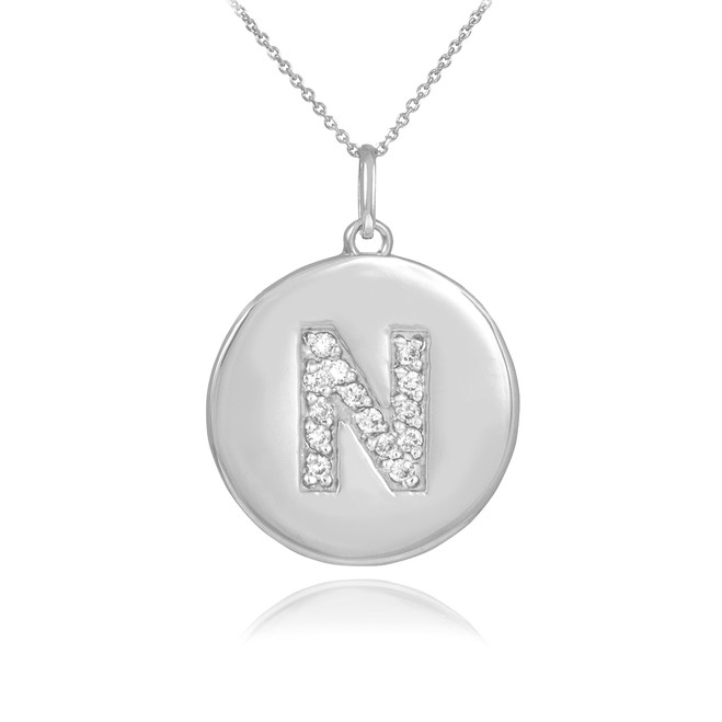 "White Gold Letter ""N"" Initial Diamond Disc Pendant Necklace"