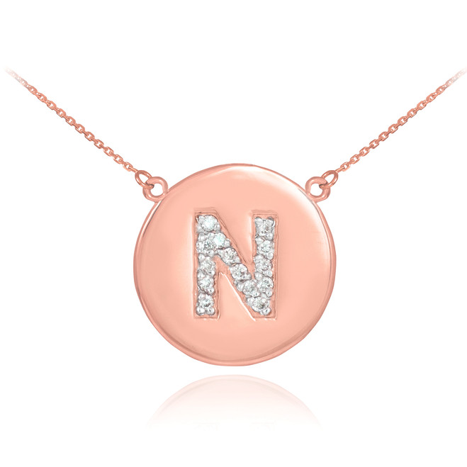 """14k Rose Gold Letter """"N"""" Initial Diamond Disc Necklace"""