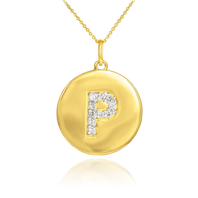 "Gold Letter ""P"" Initial Diamond Disc Pendant Necklace"