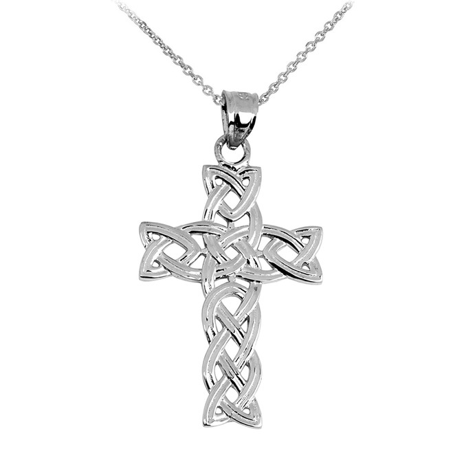 White Gold Irish Trinity Cross Pendant