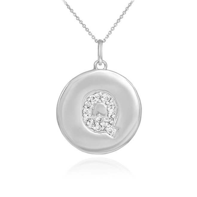 "White Gold Letter ""Q"" Initial Diamond Disc Pendant Necklace"
