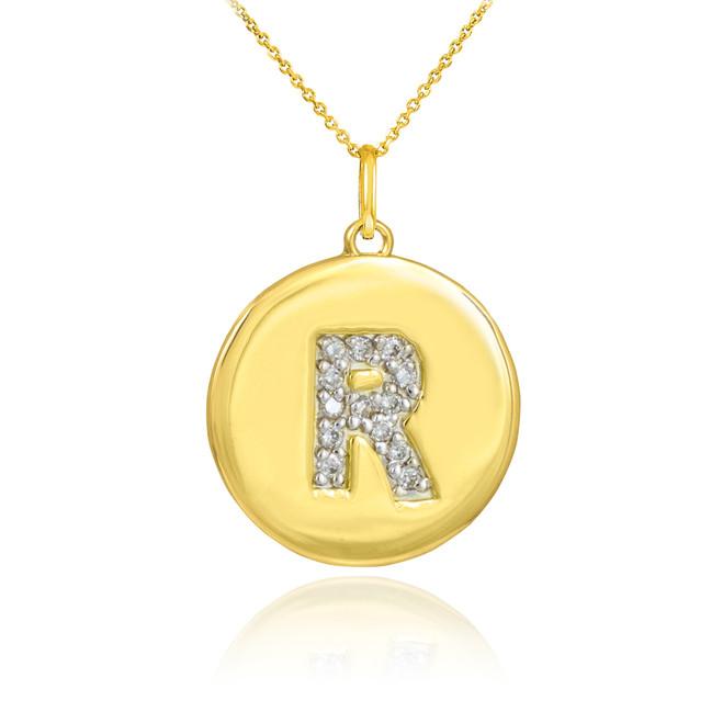 "Gold Letter ""R"" Initial Diamond Disc Pendant Necklace"