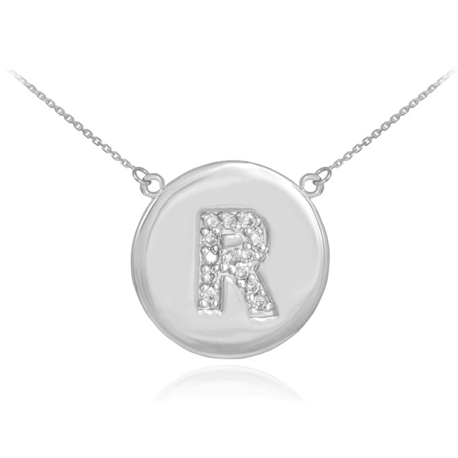 """14k White Gold Letter """"R"""" Initial Diamond Disc Necklace"""