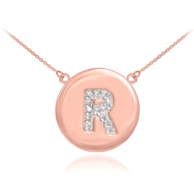"14k Rose Gold Letter ""R"" Initial Diamond Disc Necklace"