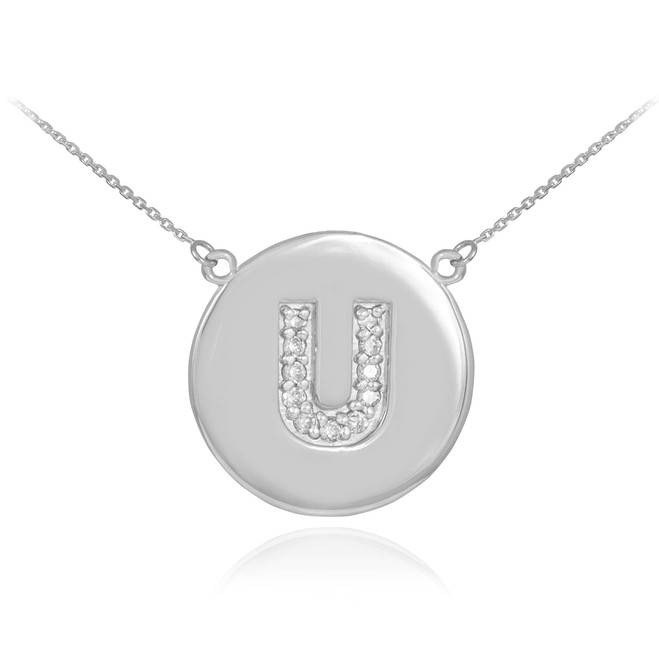 "14k White Gold Letter ""U"" Initial Diamond Disc Necklace"