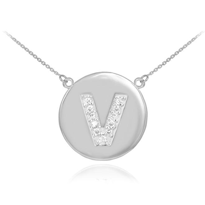 """14k White Gold Letter """"V"""" Initial Diamond Disc Necklace"""