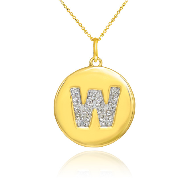 "Gold Letter ""W"" Initial Diamond Disc Pendant Necklace"