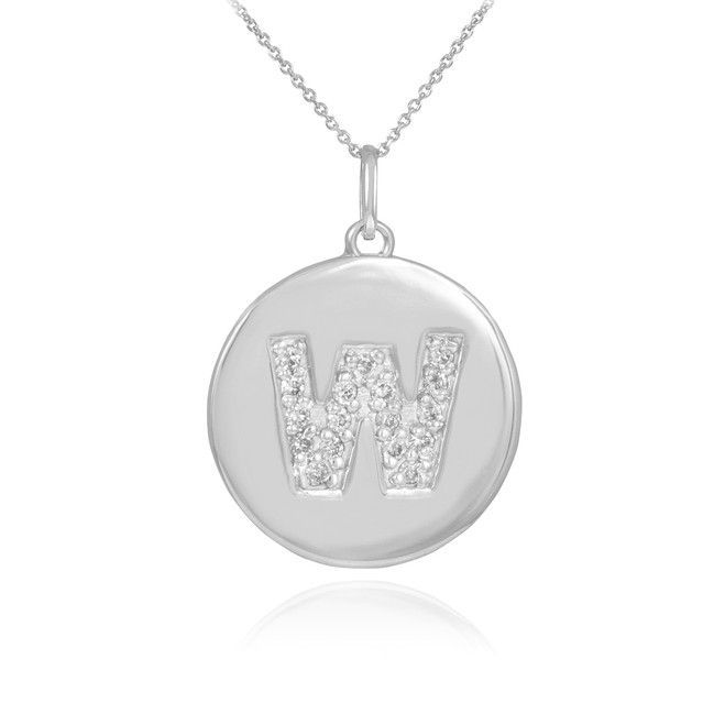 "White Gold Letter ""W"" Initial Diamond Disc Pendant Necklace"