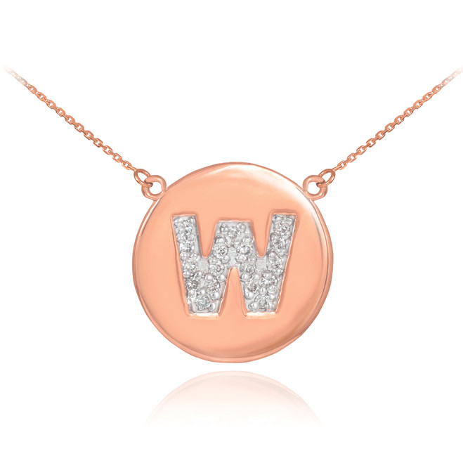 "14k Rose Gold Letter ""W"" Initial Diamond Disc Necklace"