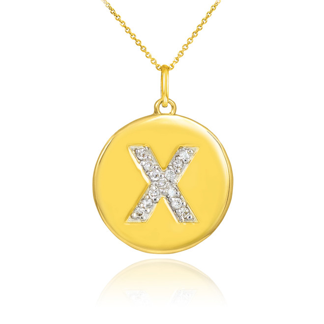 "Gold Letter ""X"" Initial Diamond Disc Pendant Necklace"