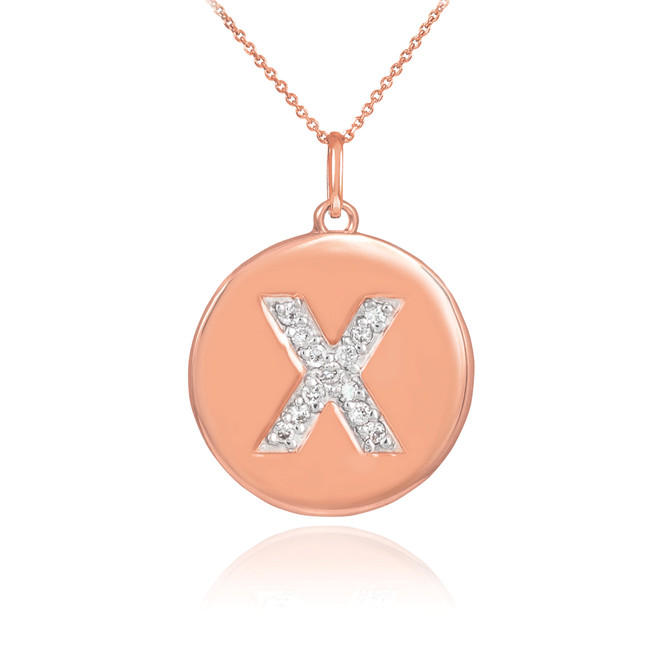 "14k Rose Gold Letter ""X"" Initial Diamond Disc Pendant Necklace"