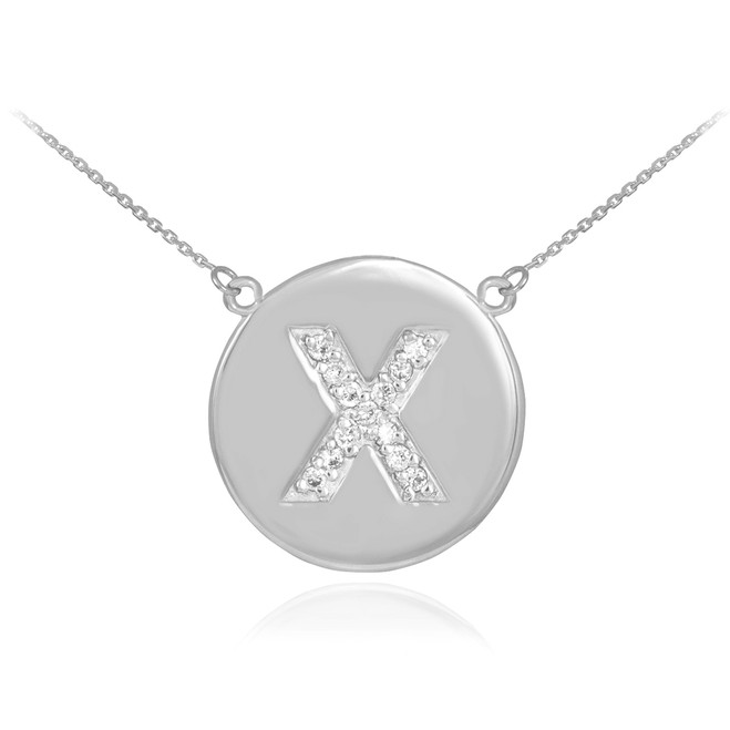 "14k White Gold Letter ""X"" Initial Diamond Disc Necklace"