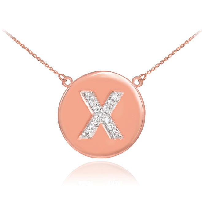 "14k Rose Gold Letter ""X"" Initial Diamond Disc Necklace"