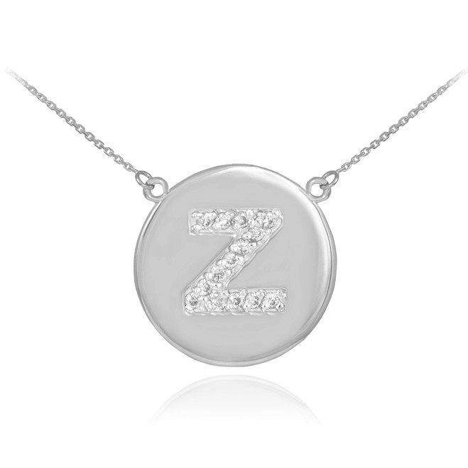 "14k White Gold Letter ""Z"" Initial Diamond Disc Necklace"