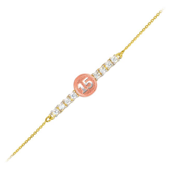 15-Anos Quinceanera Tri-Tone14k Gold CZ Bar Bracelet