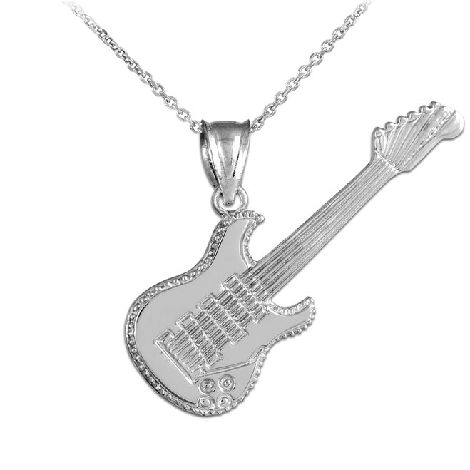 Silver Electric Guitar Pendant Necklace