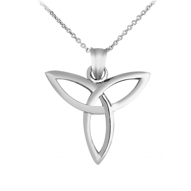 White Gold Irish Celtic Trinity Pendant Necklace