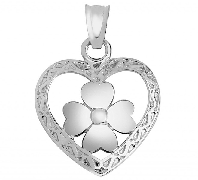 White Gold Heart clover Pendant