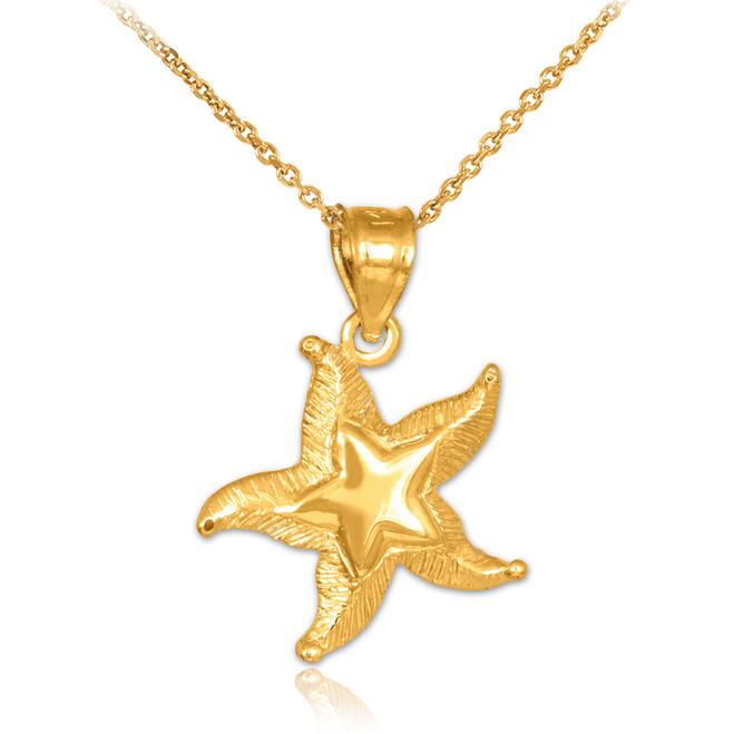 Starfish pendants gold starfish pendants silver starfish gold textured starfish pendant necklace mozeypictures Choice Image
