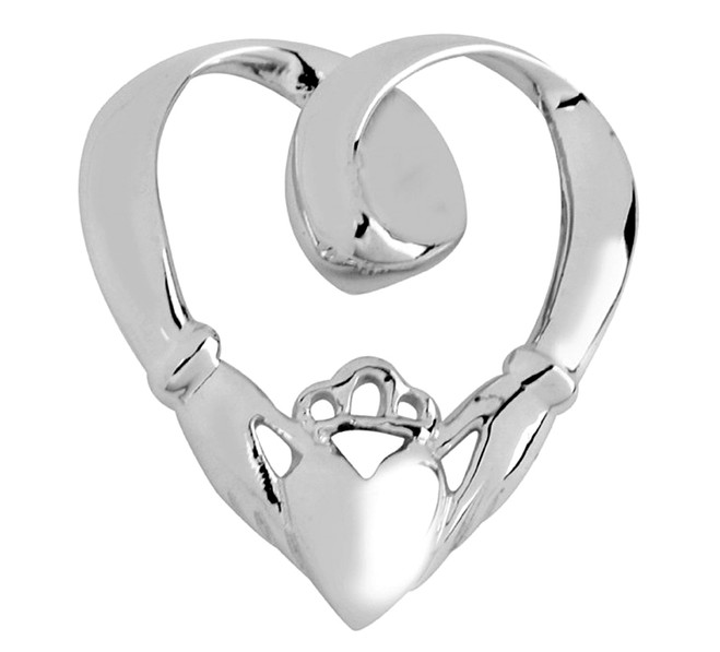 White Gold Claddagh Slide