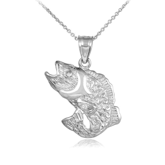White Gold Sea Bass Pendant Necklace